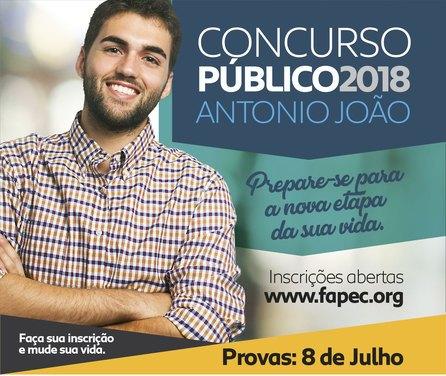 Às 16 horas desta terça-feira, dia 26 de junho, serão encerradas as inscrições para o concurso público da Prefeitura de Antônio João
