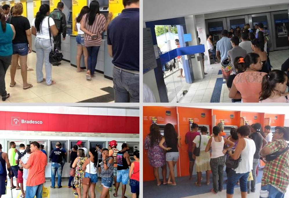 """Bancos """"sufocam"""" na fronteira e clientes enfrentam filas até nos caixas eletrônicos"""
