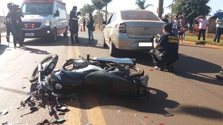 Acidente aconteceu na tarde de ontem - Foto: Osvaldo Duarte / Dourados News