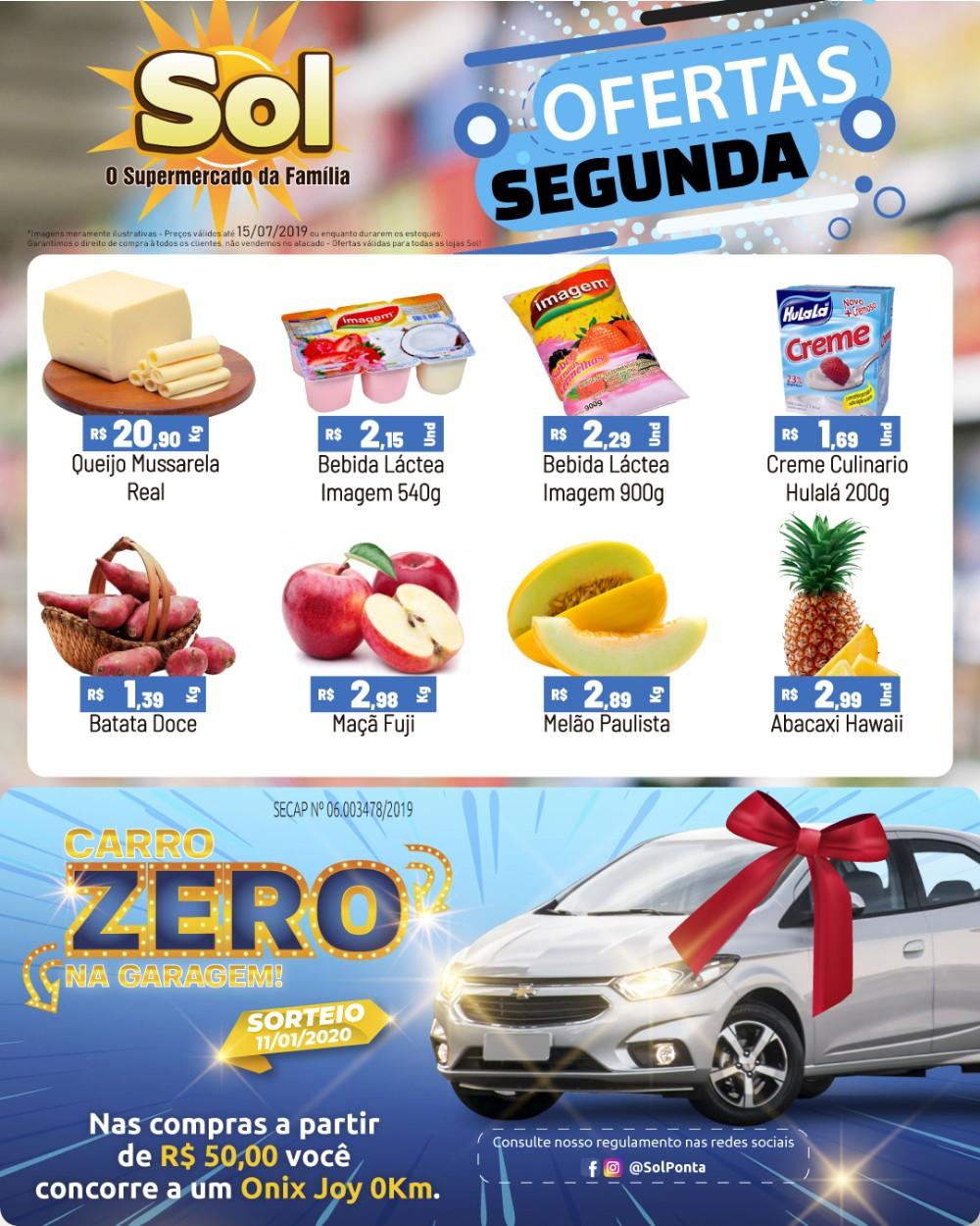 Compre no Supermercado Sol em suas ofertas da segunda-feira e concorra a um carro 0 km