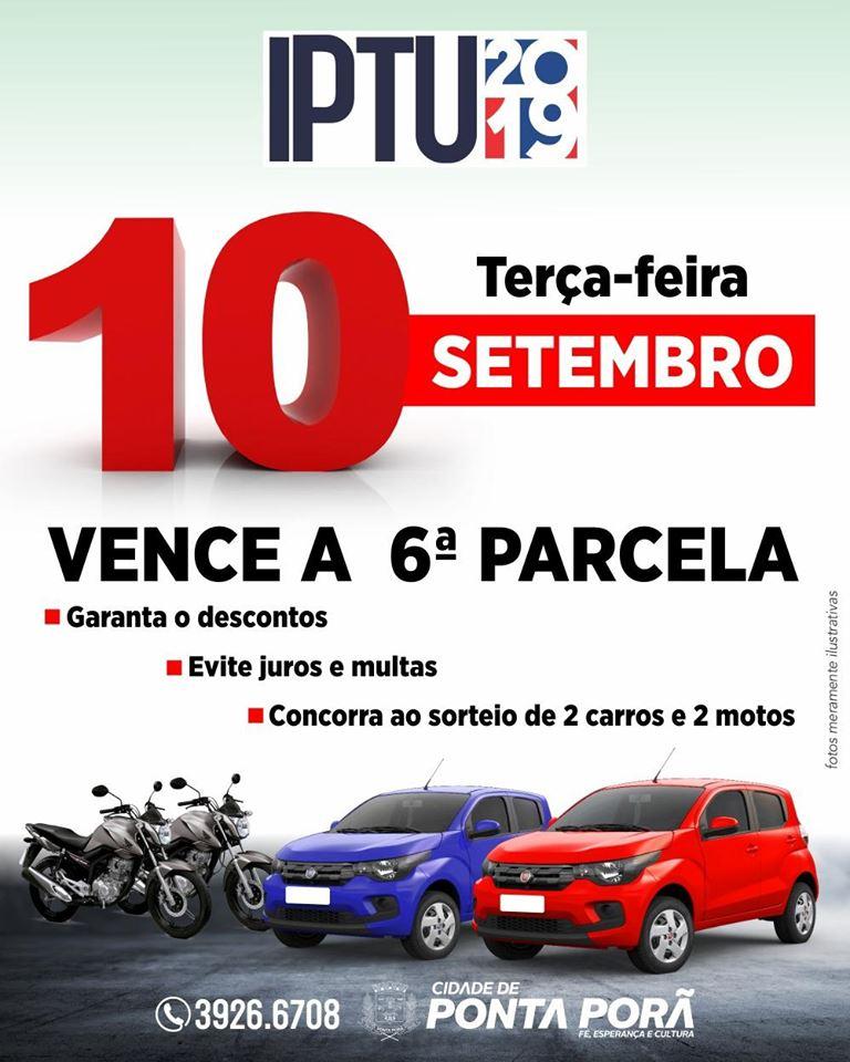 IPTU premiado tem parcela vencendo nesta terça-feira, dia 09