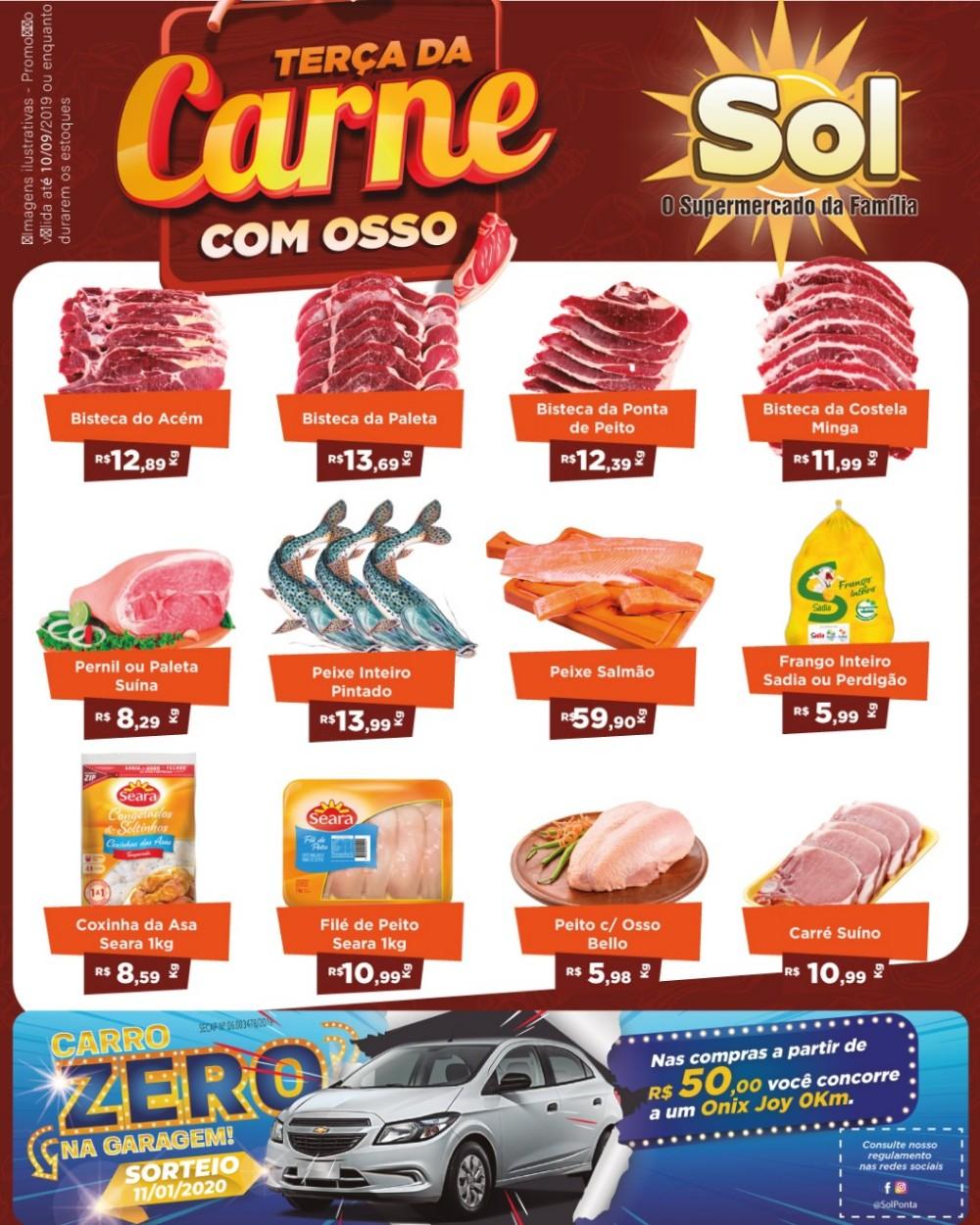 Supermercado Sol com promoções da Terça da Carne e Ofertas da Padaria e concorra a um carro 0Km