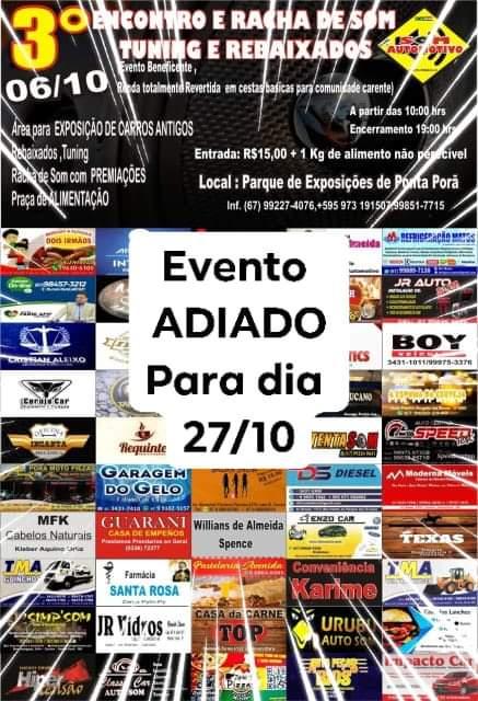 Evento adiado para o dia 27 de outubro
