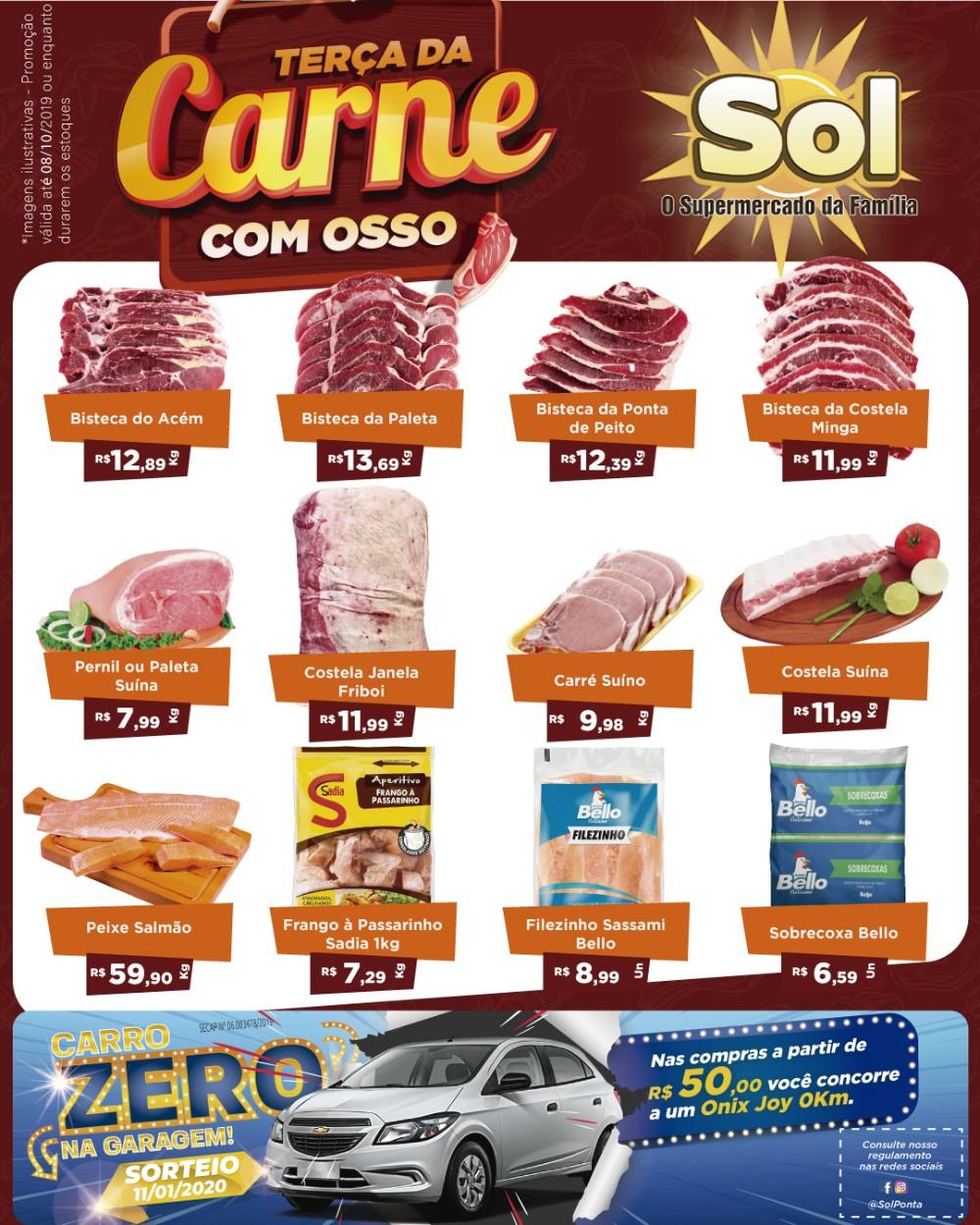Aproveitem hoje as ofertas da Terça da Carne e da Padaria e concorra com compras a cada 50 reais a um cupom para sorteio de um carro 0Km