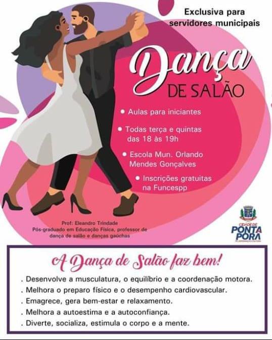 Curso de dança de salão será pela prefeitura de Ponta Porã exclusivamente para servidores do município