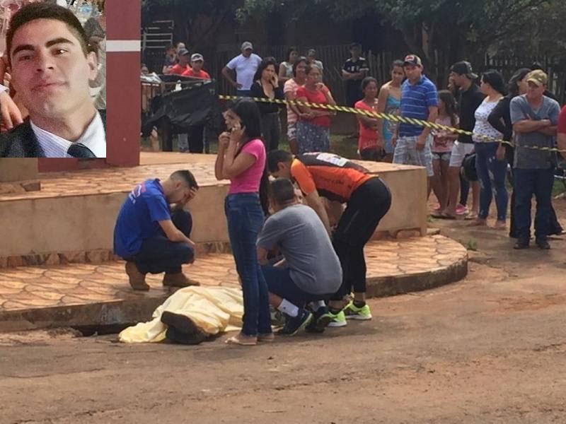 Local onde comerciante foi morto pelos pistoleiros nesta manhã em Ponta Porã (Foto: Porã News)