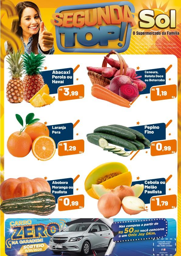 Comprem no Supermercado Sol e aproveitem suas ofertas da Segunda Top e a cada R$ 50,00 em compras, você ganha um cupom para concorrer a um carro 0Km