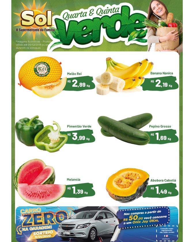 Supermercado Sol e as suas ofertas da Quarta e Quinta Verde, e a cada R$ 50,00 em compras, você ganha um cupom para concorrer a um carro 0Km