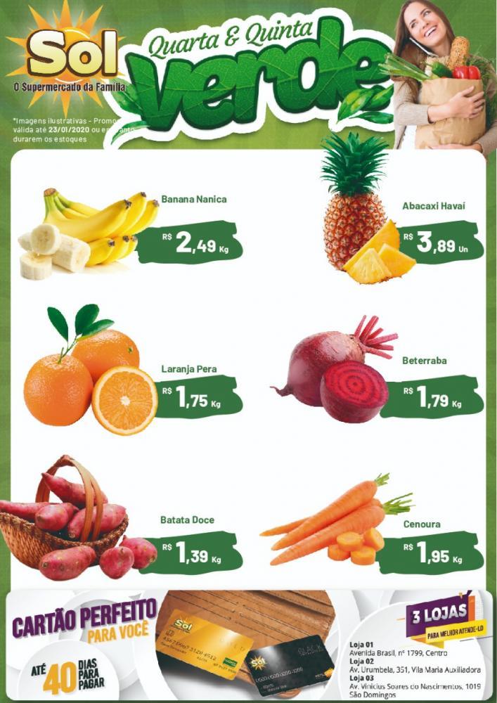 Façam suas compras nesta Quarta e Quinta Verde do Supermercado Sol