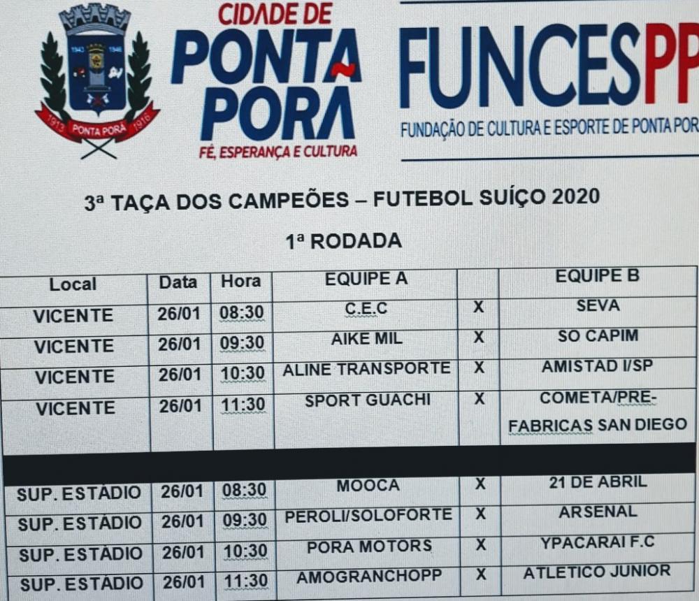 Tabela da primeira rodada da 3ª Taça dos Campeões