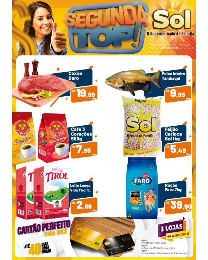 Façam suas compras nesta Segunda Top do Supermercado Sol e aproveitem as promoções