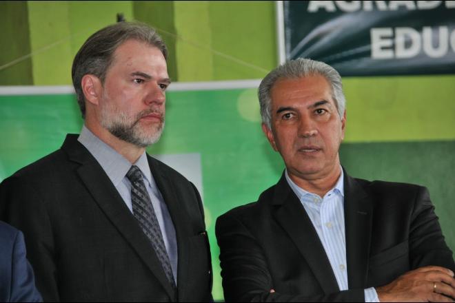 Dias Toffoli, presidente do STF, e Reinaldo Azambuja, governador de Mato Grosso do Sul - Valdenir Rezende