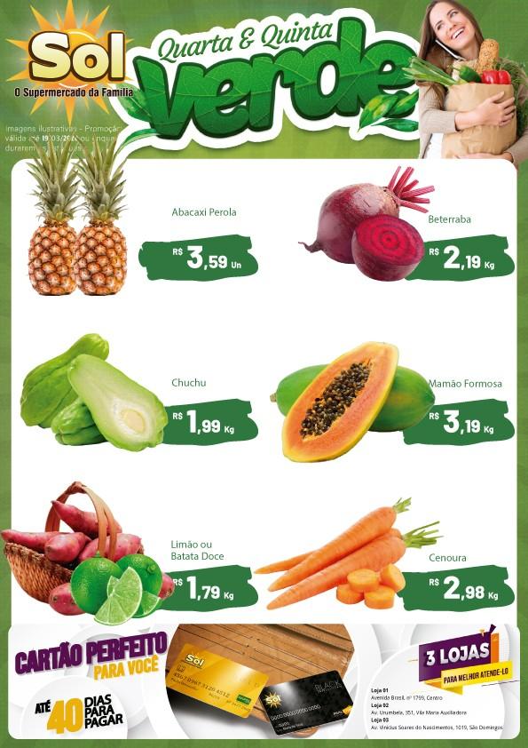 Façam suas compras nesta Quarta e Quinta Verde do Supermercado Sol e aproveitem as suas ofertas