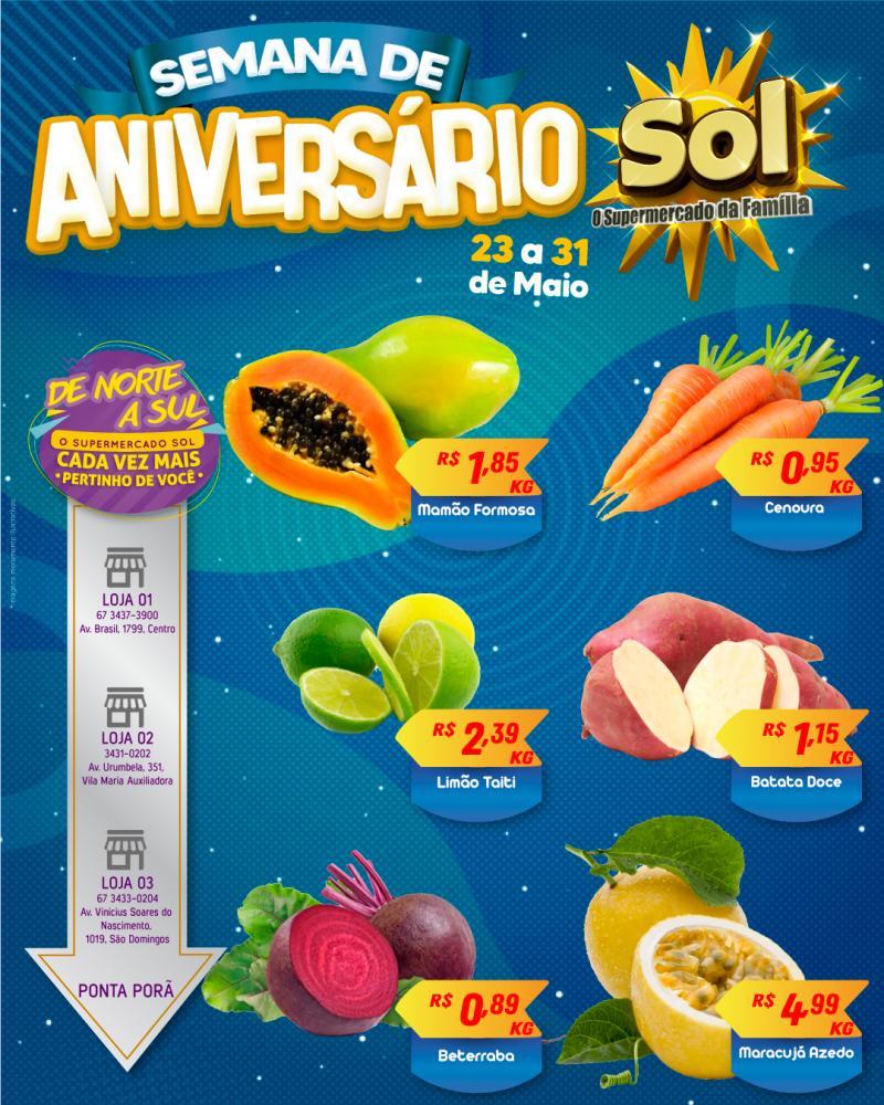 Façam suas compras nesta semana de Ofertas de Aniversário do Supermercado Sol