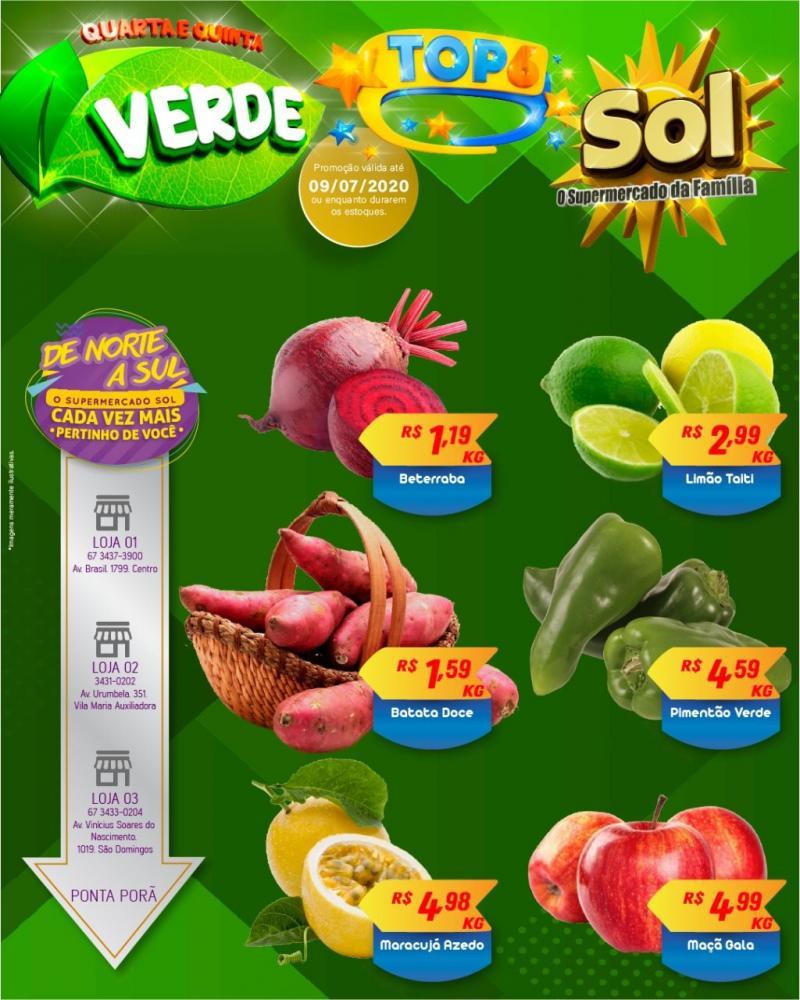 Façam suas compras nesta Quarta e Quinta Verde e as Top 6 do Supermercado Sol