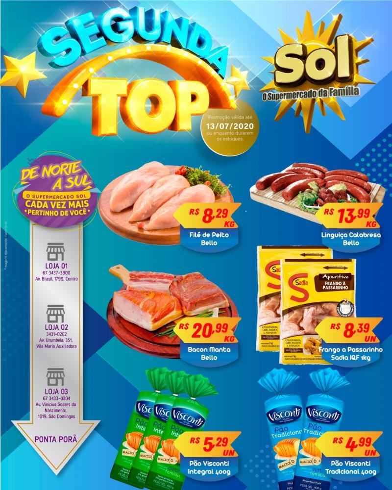 Façam suas compras nesta Segunda Top do Supermercado Sol e aproveitem as ofertas